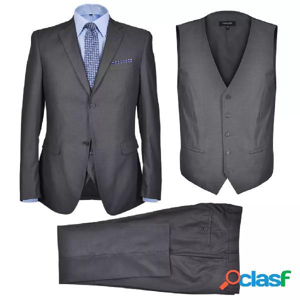 vidaXL Traje de chaqueta de hombre 3 piezas talla 56 gris