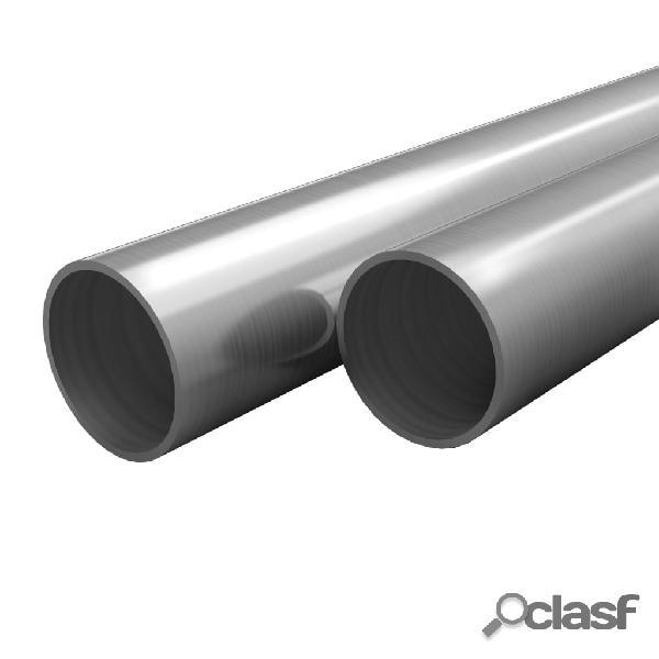 vidaXL Tubos de acero inoxidable redondos 2 unidades V2A 2 m