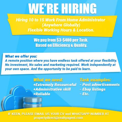 Hiring 10 to 15 Work From Home Administrator (Anywhere