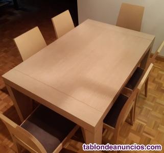Vendo mesa de roble, 6 sillas de roble y una cómoda de