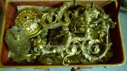 Piezas lámpara antigua de bronce y cristal