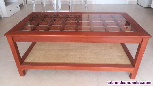 Vendo mesa de centro madera y cristal
