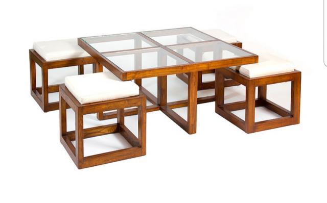 Mesa y 4 Taburetes estilo colonial