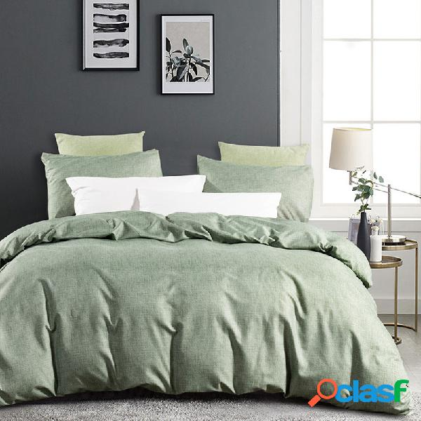 3pcs / set Color sólido Juego de cama verde Funda nórdica