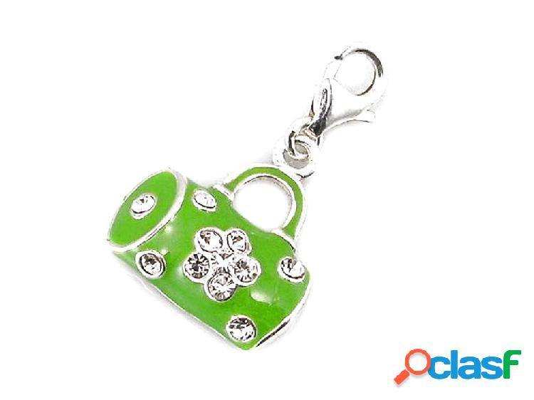 Abalorio de plata estilo charms bolso verde