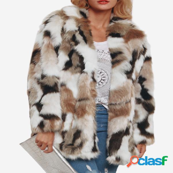 Abrigo grueso de invierno de manga larga de color sintético
