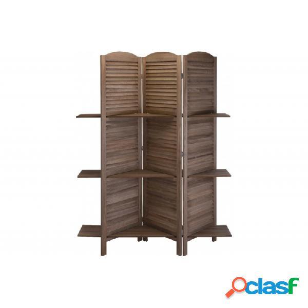 Biombo con estantes madera
