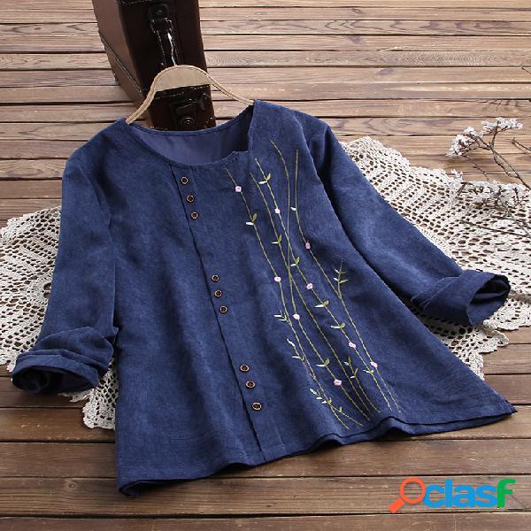 Blusa bordada de manga larga con botones de pana vendimia
