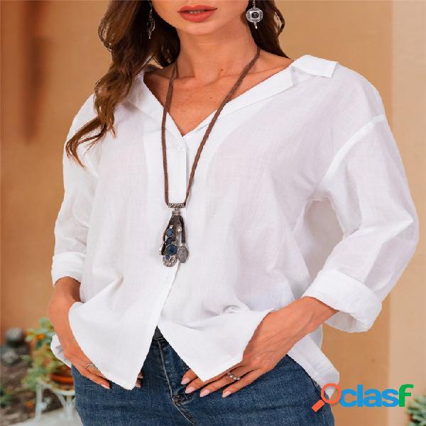 Blusa casual de manga larga con cuello en V Plus Talla Blusa