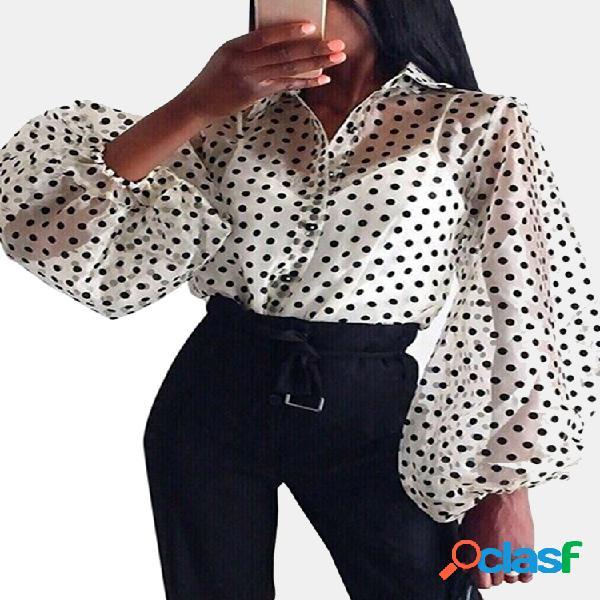 Blusa de manga larga transparente con lunares para Mujer