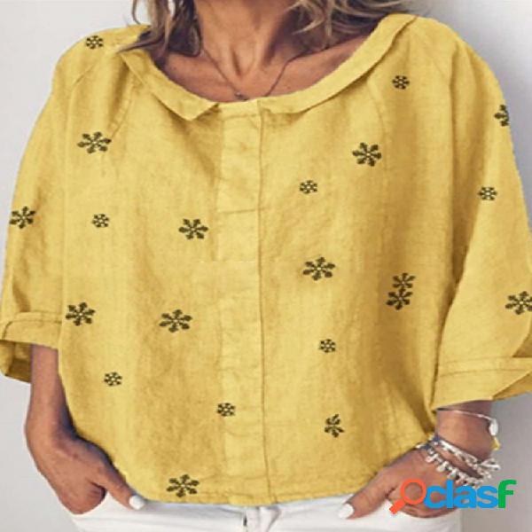Blusa estampada con cuello de tortuga y manga 3/4 para Mujer