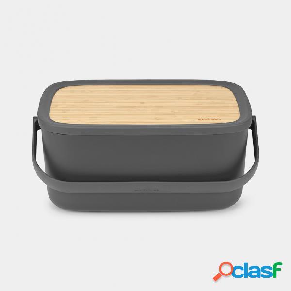 Caja para el pan brabantia nic gris oscuro