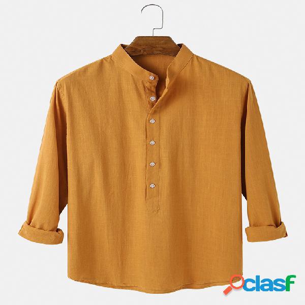 Camisas Henley de manga larga transpirables de algodón de