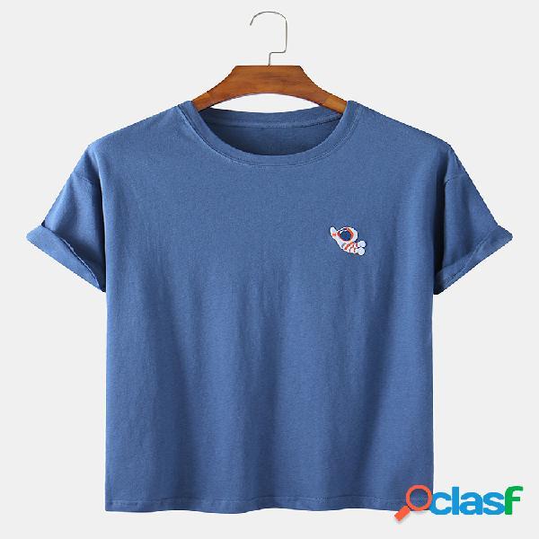 Camiseta casual de algodón con bordado de astronauta de