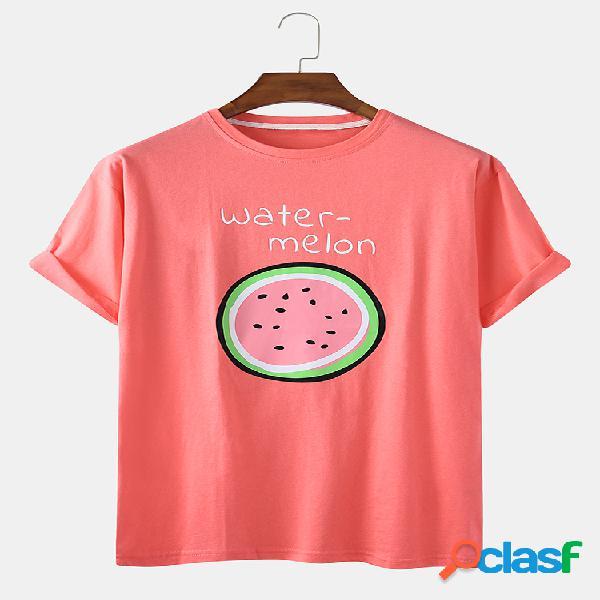 Camiseta casual de algodón con estampado de frutas de