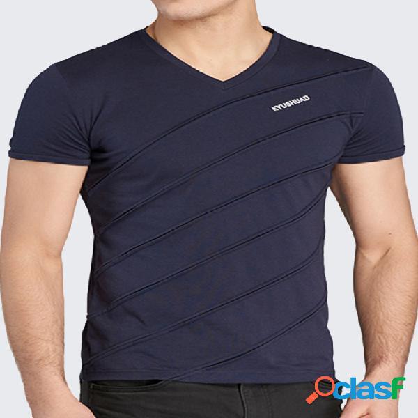 Camiseta casual transpirable de algodón de manga corta con