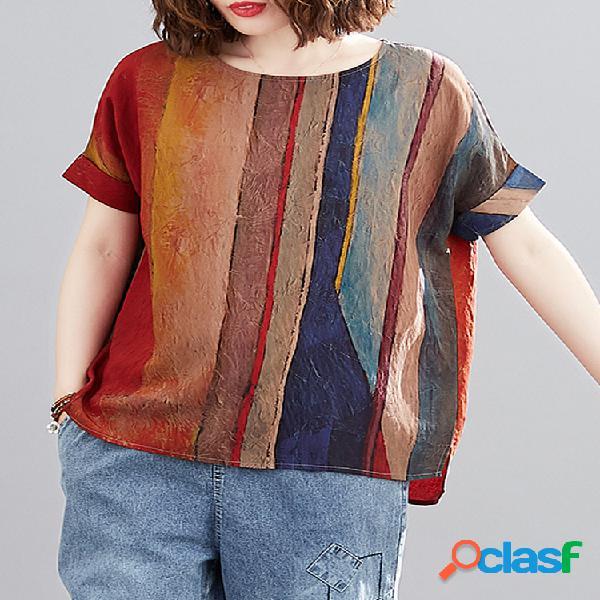 Camiseta de lino con cuello redondo y manga a rayas Plus