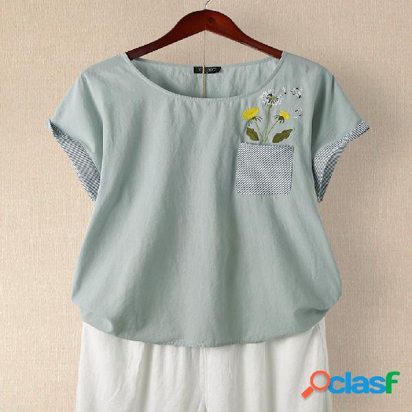 Camiseta de patchwork a rayas con cuello en O de manga corta