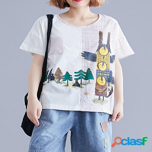 Camiseta de patchwork a rayas con estampado de dibujos