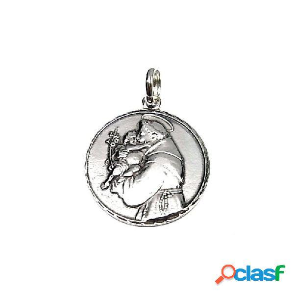 Colgante medalla san antonio de plata de ley 28 mm.