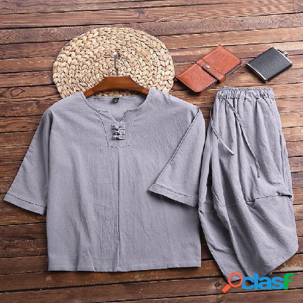 Conjunto de pijamas sueltos de lino para hombres