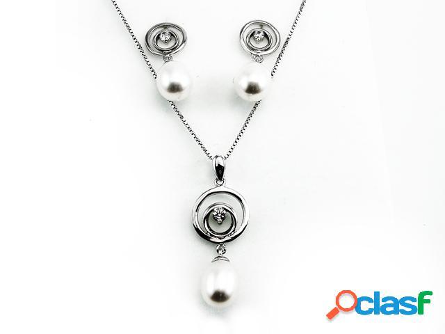 Conjunto pendientes y gargantilla de plata perlas y