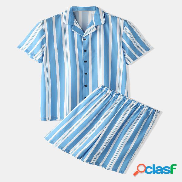 Conjuntos de ropa de hogar a rayas azules Conjuntos de
