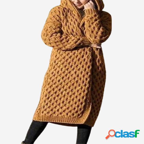 Cárdigan casual de invierno de manga larga de color liso