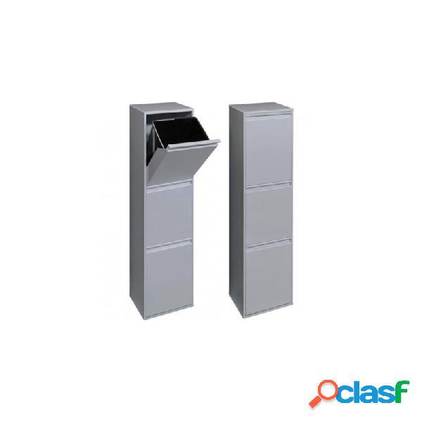 Cubo de reciclaje arregui 3 compartimentos gris