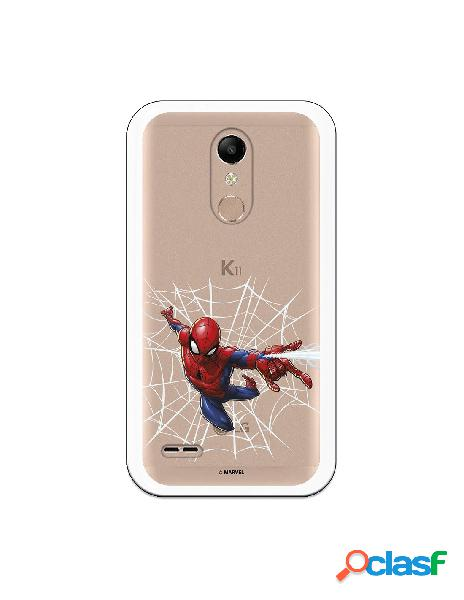 Funda para LG K10 2018 Oficial de Marvel Spiderman Telaraña