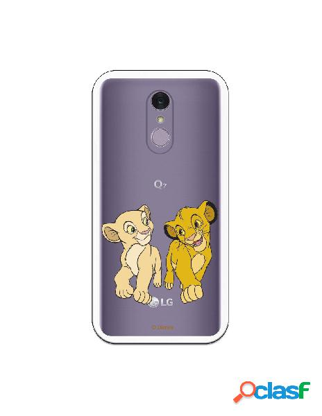 Funda para LG Q7 Oficial de Disney Simba y Nala Mirada