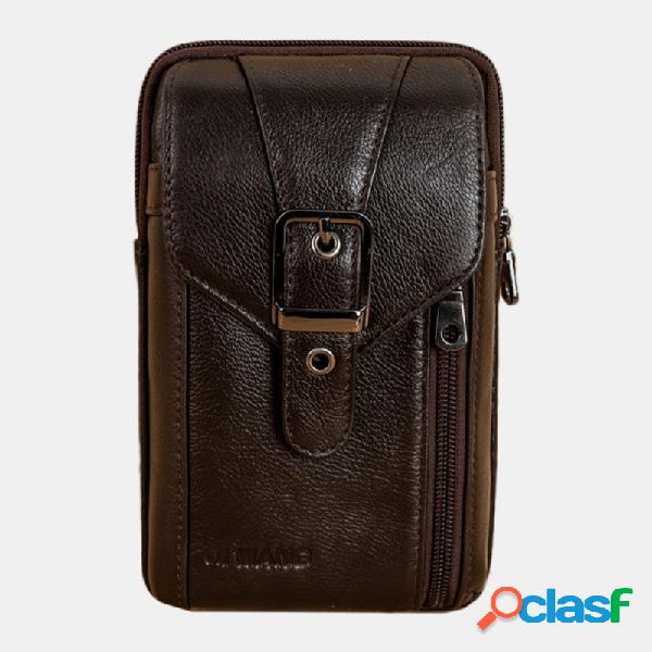 Hombres Solid 7.2 '' Teléfono Bolsa Piel Genuina Cinturón