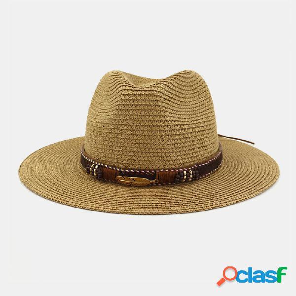 Hombres y Mujer Paja Sombrero Bombín Sombrero Playa