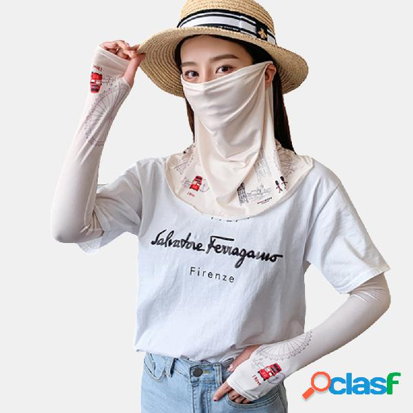 Impreso Mascara Funda Funda Velo Manga hielo Protector solar