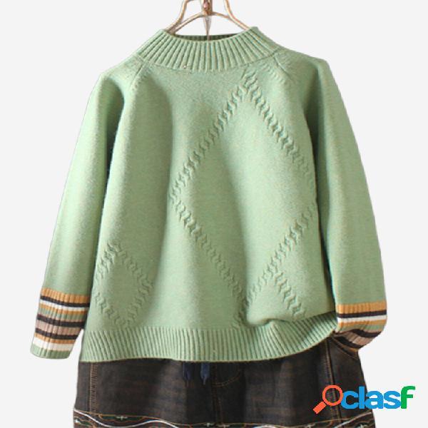 Jersey de manga larga con cuello alto y rayas multicolores