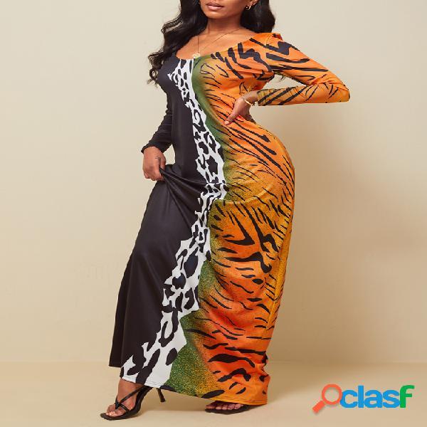 Leopardo estampado de manga larga con cuello en v patchwork