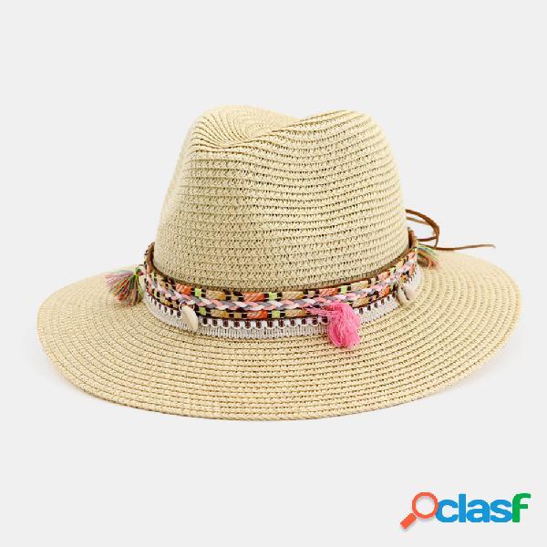 Mujer Jazz Straw Sombrero al aire libre Playa Protector