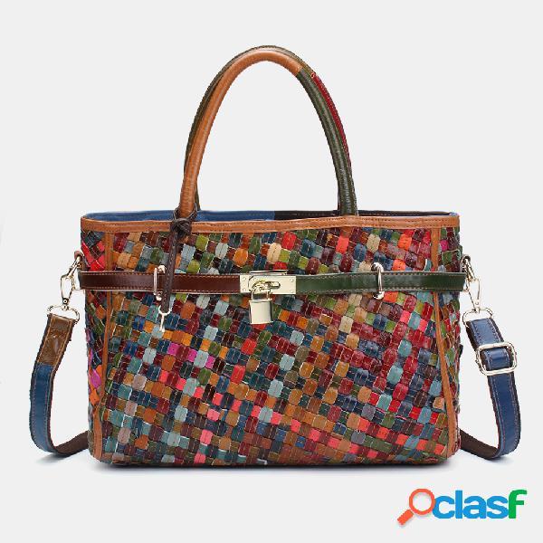 Mujer Piel Genuina Weave Handbag Crossbody Bolsa