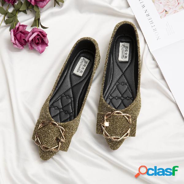 Mujer Rhinestone zapatos de pisos de decoración de gamuza