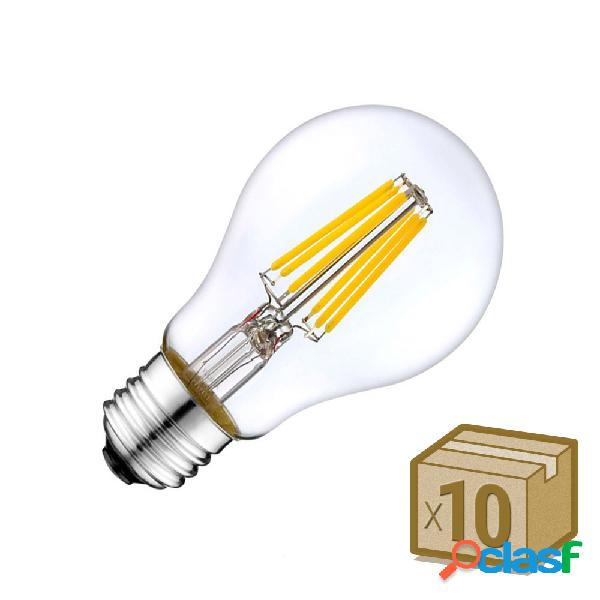 Pack 10 x bombillas led e27 cob filamento 8w blanco cálido