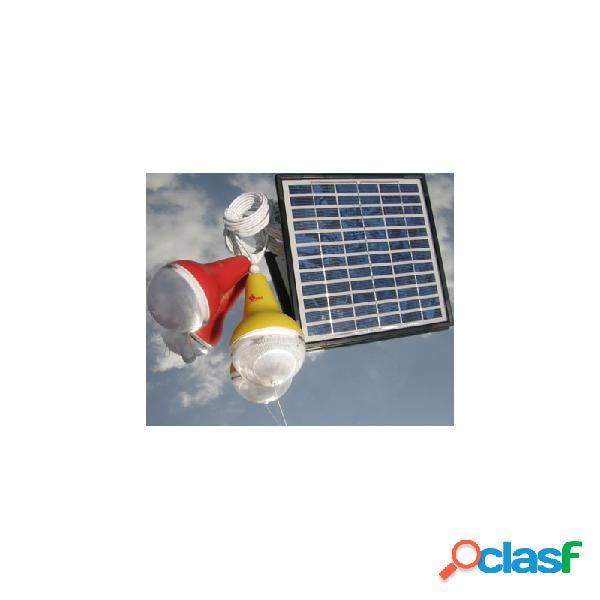 Panel solar con 3 bombillas led blanco