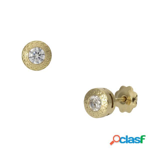 Pendientes chaton de oro 18 kl. 5 mm.