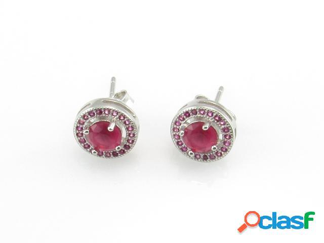 Pendientes de plata rodiada con circonitas rosas