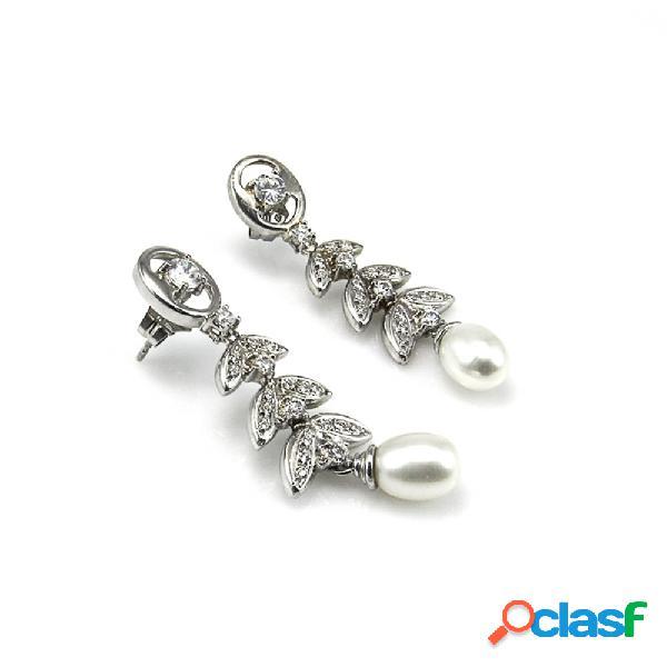 Pendientes plata y perlas hojas con circonitas blancas