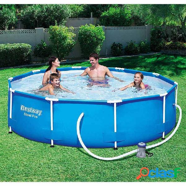 Piscina bestway steel pro max 56595 redonda azul 427x84 cm