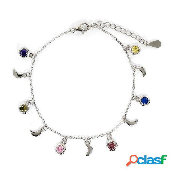 Pulsera Plata Lunas Y Chatones De Color 9108676