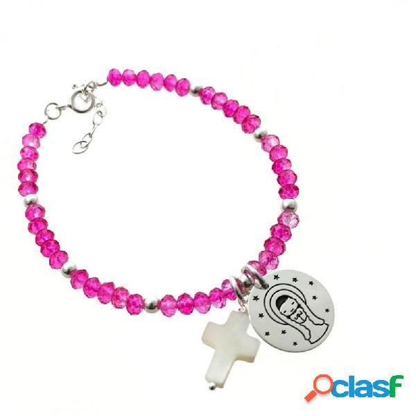 Pulsera para niña de comunión con piedra color cruz y