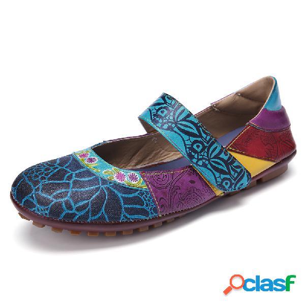 SOCOFY Bohemio Soft Cuero Empalme Floral Gancho Zapatos