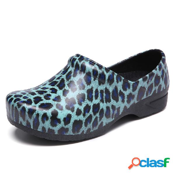 SOCOFY Mocasines con estampado de leopardo Impermeable