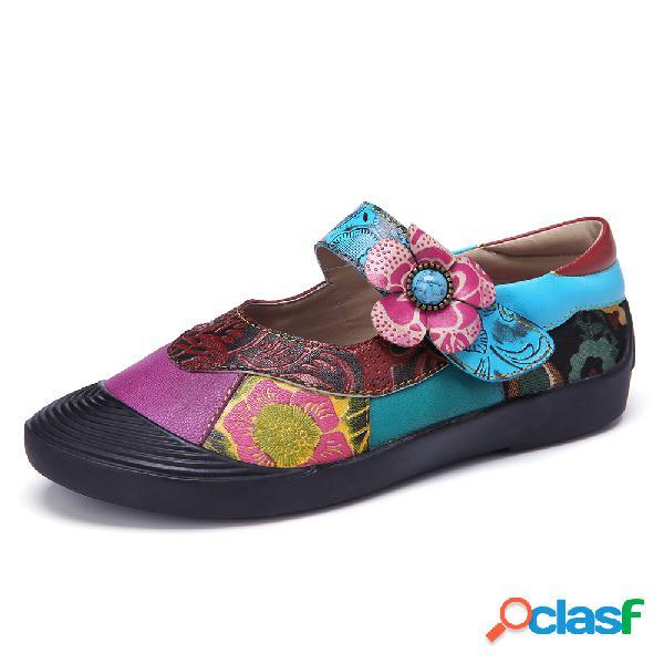 SOCOFY Piel bohemia empalme floral Gancho Zapatos planos con